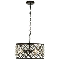 Product photograph showing Auckland 3 Bulb Cross Design Pendant Ceiling Light In Black