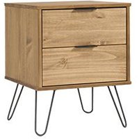 Product photograph showing Augusta Bedside Cabinet In Waxed Pine With 2 Drawers