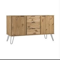Product photograph showing Augusta Medium Sideboard In Waxed Pine With 2 Doors 3 Drawers