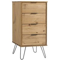Product photograph showing Augusta Narrow Chest Of Drawers In Waxed Pine With 4 Drawers