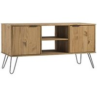 Product photograph showing Augusta Tv Unit In Waxed Pine With 2 Doors