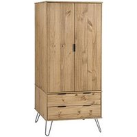 Product photograph showing Augusta Wardrobe In Waxed Pine With 2 Doors And 2 Drawers