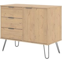 Product photograph showing Augusta Wooden Sideboard In Waxed Pine With 1 Door 3 Drawers