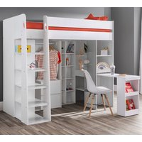 Product photograph showing Aurora High Sleeper Kids Bed In White