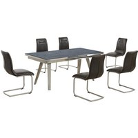 Ava Extending Dining Table In Grey And 6 Woodland Brown Chai