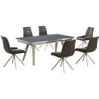 Ava Glass Extending Dining Table In Grey And 6 Dark Brown Ch