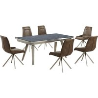 Ava Glass Extending Dining Table In Grey And 6 Mid Brown Cha