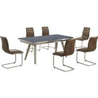 Ava Glass Extending Dining Table In Grey And 6 Warm Earth Ch