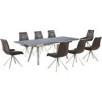 Ava Glass Extending Dining Table In Grey And 8 Dark Brown Ch