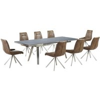 Ava Glass Extending Dining Table In Grey And 8 Mid Brown Cha