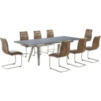 Ava Glass Extending Dining Table In Grey And 8 Warm Earth