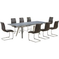 Ava Glass Extending Dining Table In Grey 8 Woodland Brown
