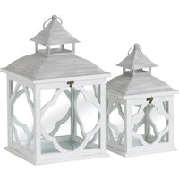 Product photograph showing Ava Wooden Set Of Two Lanterns In White With Marrakesh Pattern