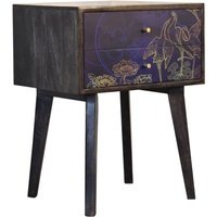 Avanti Wooden Bedside Cabinet In Midnight Blue Pattern