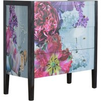Product photograph showing Avanti Wooden Chest Of 3 Drawers In Floral Pattern