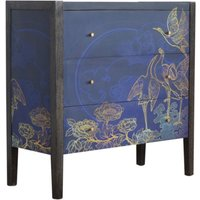 Product photograph showing Avanti Wooden Chest Of 3 Drawers In Midnight Blue Pattern