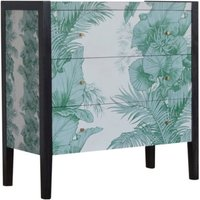 Product photograph showing Avanti Wooden Chest Of 3 Drawers In Tropical Pattern