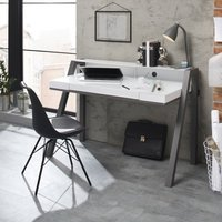 image-Avanti Glass Computer Desk In White And Anthracite Metal Legs