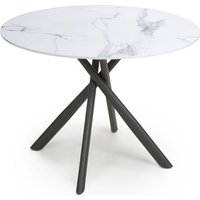 Avesta Round Glass Top Dining Table In White