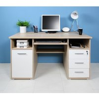 Product photograph showing Ergonomic Wooden Computer Desk In Sonoma Oak And White
