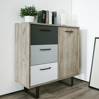 Aviva Compact Sideboard In Multicolor And Grey Craft Oak