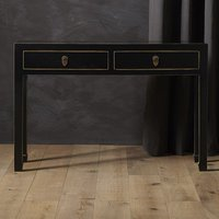 Product photograph showing Avlion Large Wooden Console Table In Black And Gold