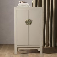 Product photograph showing Avlion Medium Wooden Storage Cabinet In Oyster Grey