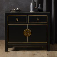 Product photograph showing Avlion Small Woden Sideboard In Black And Gold