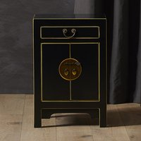 Avlion Small Wooden Bedside Cabinet In Black And Gold