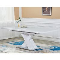 Product photograph showing Axara Large Extending High Gloss Dining Table In White