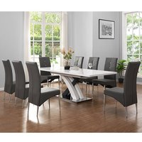 Axara Extending Gloss White Grey Dining Table With 8 Grey Chairs