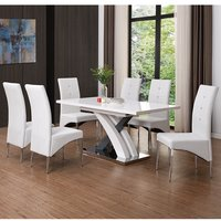 Product photograph showing Axara Extending Gloss White Grey Dining Table With 8 White Chair