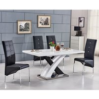 Axara Extending Small Gloss Dining Set White Black And 6