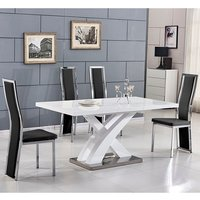 Axara Extending Small Dining Set In White Gloss 6 Black Chai