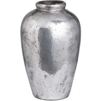 Product photograph showing Axon Tall Metallic Ceramic Vase In Silver