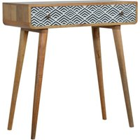 Product photograph showing Axton Wooden Console Table In Oak Ish And Monochrome Print