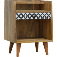 Axton Wooden District Diamond Pattern Bedside Cabinet In Oak Ish