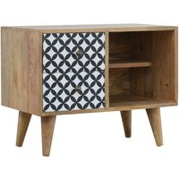 Product photograph showing Axton Wooden District Diamond Pattern Storage Cabinet In Oak Ish