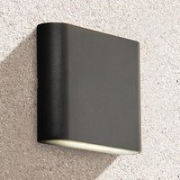 Product photograph showing Azha Outdoor Led Up Down Wall Light In Black With Clear Diffuser