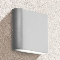 Product photograph showing Azha Outdoor Led Up Down Wall Light In Grey With Clear Diffuser