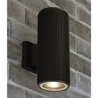 Product photograph showing Azha Outdoor Up Down Wall Light In Black With Clear Glass