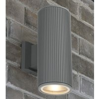 Product photograph showing Azha Outdoor Up Down Wall Light In Grey With Clear Glass