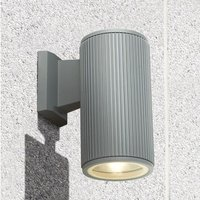 Product photograph showing Azha Round Outdoor Wall Light In Grey With Clear Glass