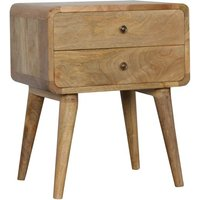 Product photograph showing Bacon Wooden Curved Bedside Cabinet In Oak Ish With 2 Drawer