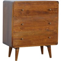 Product photograph showing Bacon Wooden Curved Chest Of Drawers In Chestnut With 3 Drawers