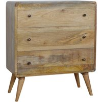 Product photograph showing Bacon Wooden Curved Chest Of Drawers In Oak Ish With 3 Drawers