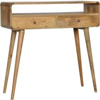 Product photograph showing Bacon Wooden Curved Console Table In Oak Ish With 2 Drawers