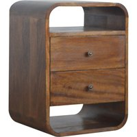 Bacon Wooden Curved Edge Bedside Cabinet In Chestnut 2 Drawers