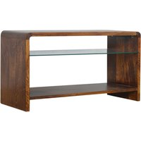 Product photograph showing Bacon Wooden Curved Tv Stand In Chestnut With Glass Shelf