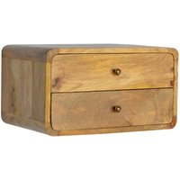 Product photograph showing Bacon Wooden Wall Hung Bedside Cabinet In Oak Ish With 2 Drawers